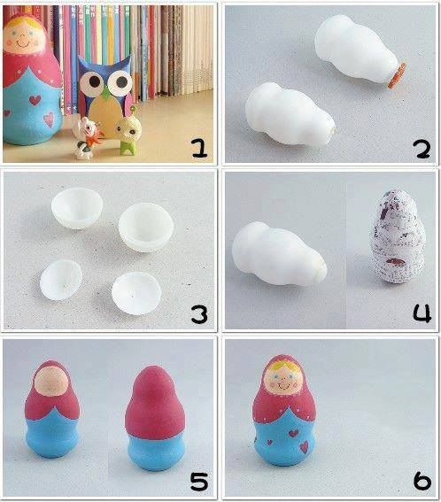 Boneca Russa feita com frasco de iogurte.