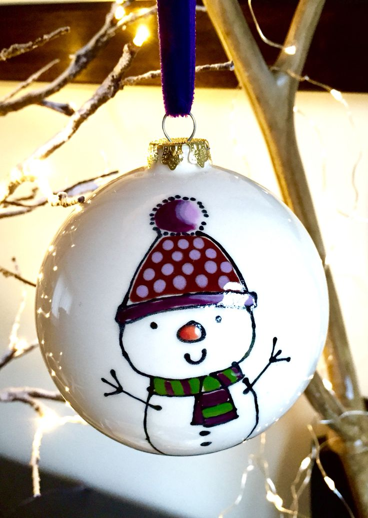 Personalised ceramic 'Snowman' bauble hung on luxurious cotton velvet ribbon. Large £15 and small £12 from our website www.artypantsceramics.co.uk/shop