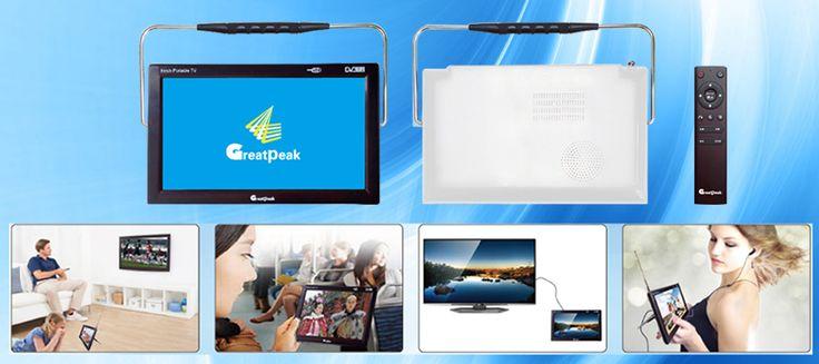 Free shipping excellent 12v LED portable digital tv dvb t2 tv mpeg4 battery mini television