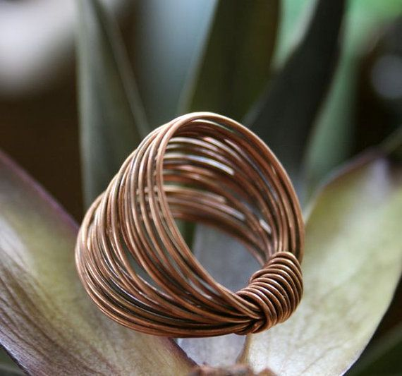 Copper Wire Ring Modern and Earthy by RambleRove on Etsy