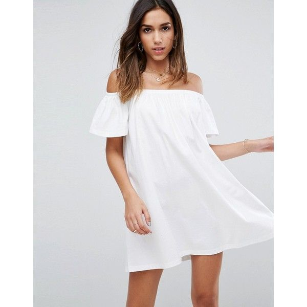ASOS Off Shoulder Mini Dress ($24) ❤ liked on Polyvore featuring dresses, white, asos dresses, party dresses, prom dresses, short dresses and off the shoulder dress