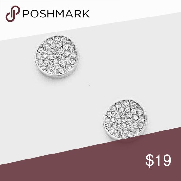 """Pave Partay Classy Rhodium Plated Crystal Clear Round Disc Paved Studs, so on trend. Part of the """"la jolie vie"""" Collection, meaning the pretty life in French.   Detail-> 0.4"""" Width, Post Back.  .Ask About Custom Bundles.  .Poshmark Rules Only. No Trades.  .Additional Pics Available as Time Allows. GoodChic Jewelry Earrings"""