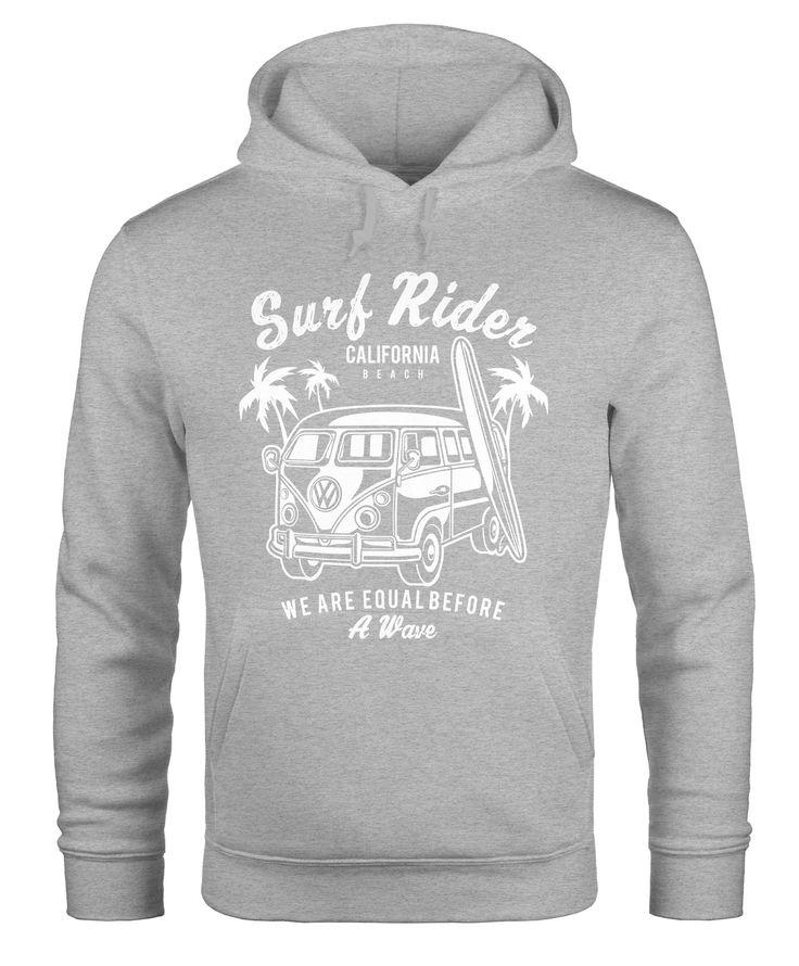 Hoodie Herren VW Bus Bulli Surfing Kapuzenpullover Pullover mit Kapuze Moonworks