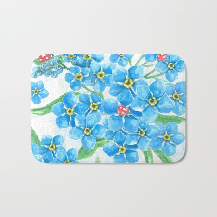 Forget me not seamless floral pattern Bath Mat by Katerina Kirilova | Society6