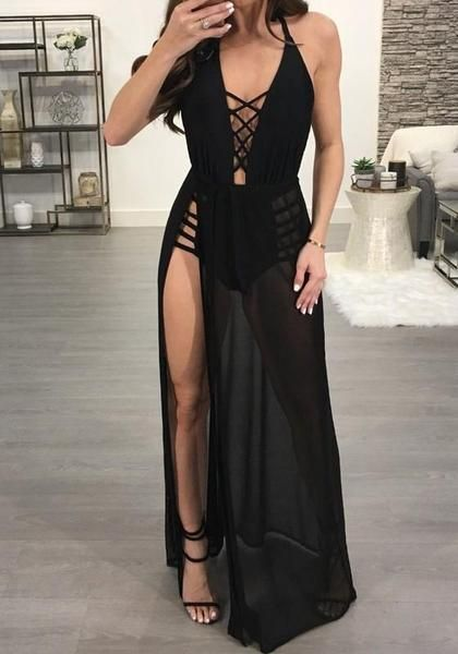 bc158889d Black Sashes Cut Out Backless Side Slit Halter Neck Clubwear Party Maxi  Dress