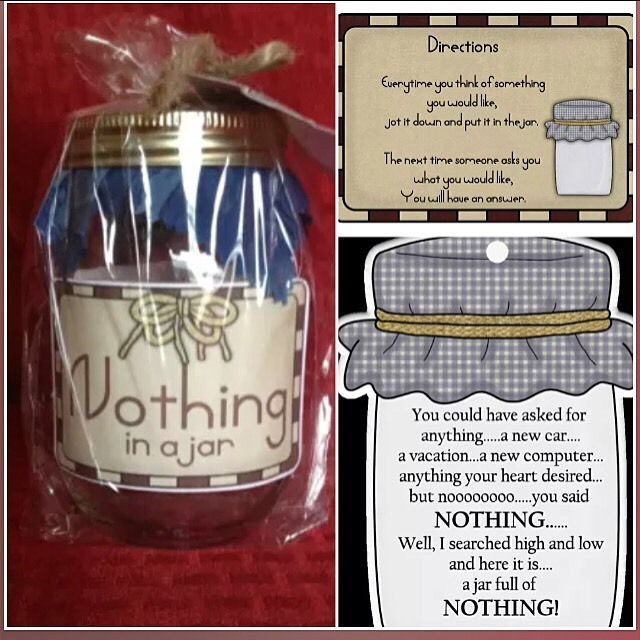 Nothing In A Jar Gift Did They Say They Wanted Nothing For B Day Holidays Ebay Christmas Crafts For Gifts Jar Gifts Christmas Gifts For Friends