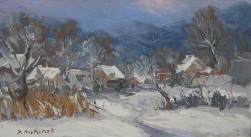 Original-Europe-Ukrainian-Oil-Winter-in-the-Mountains-Impressionism-Art
