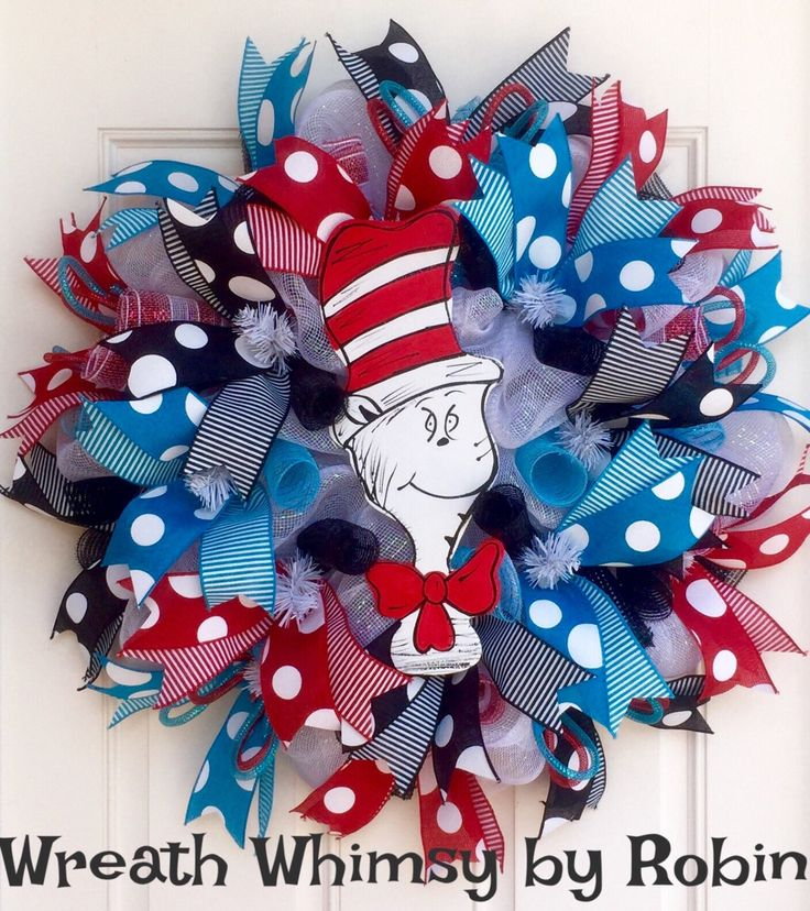 Dr. Seuss Cat In the Hat Inspired Deco Mesh Wreath in Red, Turquoise, Black & White, Classroom Wreath, Dr Seuss Decor, Dr Seuss Party by WreathWhimsybyRobin on Etsy