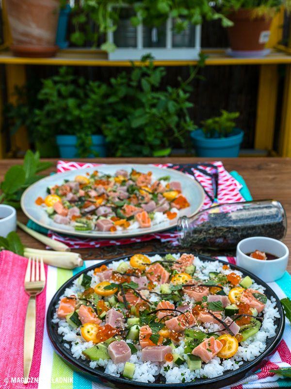 zdekonstruowane sushi z tuńczykiem a'la ceviche i sosem z trawy cytrynowej
