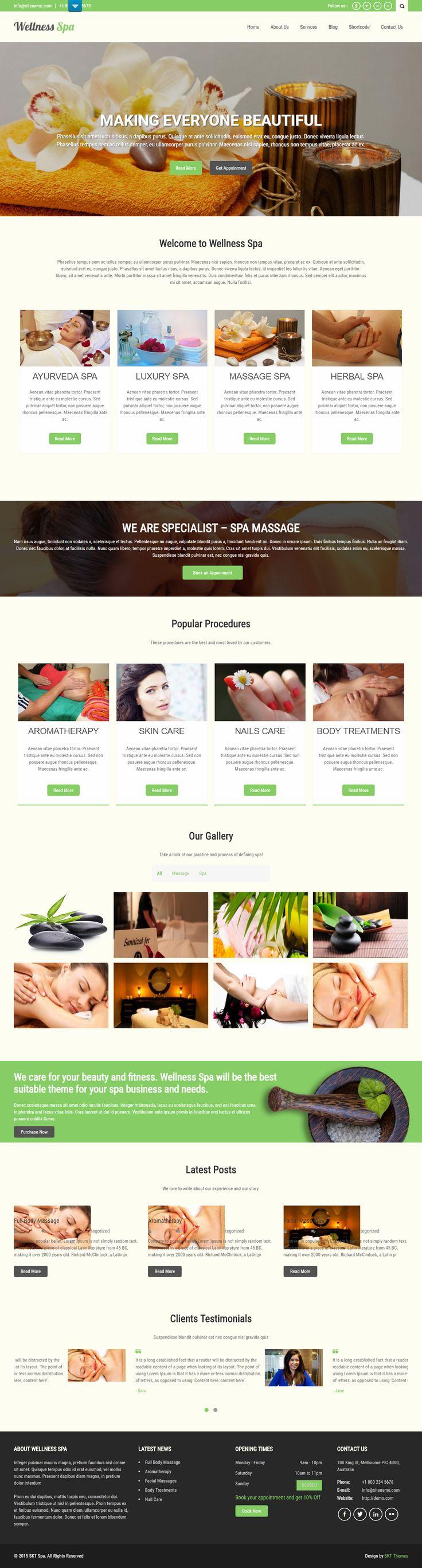 Free Beauty Spa WordPress Theme for Spas and Salon Websites