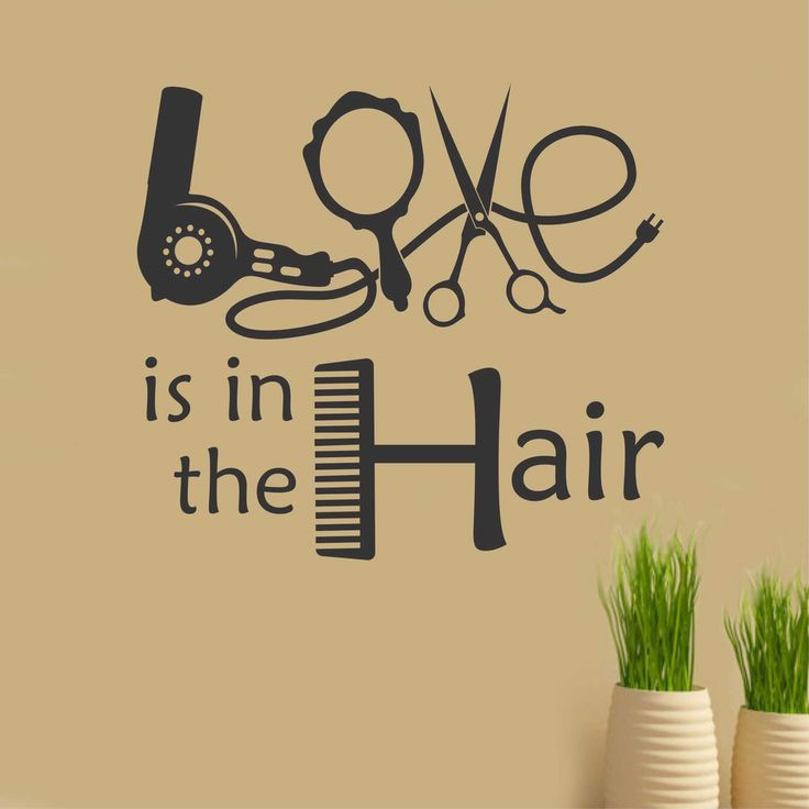 Love is in the Hair Beauty Salon Hairdresser Quote Vinyl Wall Lettering Decal