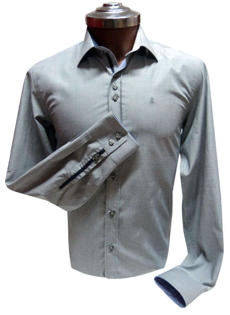 Camisa Gris 100% algodón, Slim Fit detalle de contraste vichi Azul. Ehgho - Perú