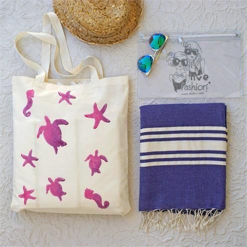 Caretta Plaj Seti - Bikini Çantası Şeffaf  Kumaş Türü: Plaj Çantası %100 Keten  Peştemal %100 Pamuk Bikini Çantası PVC Paket İçeriği: 1 adet plaj çantası 1 adet peştemal  1 Adet Bikini Çantası