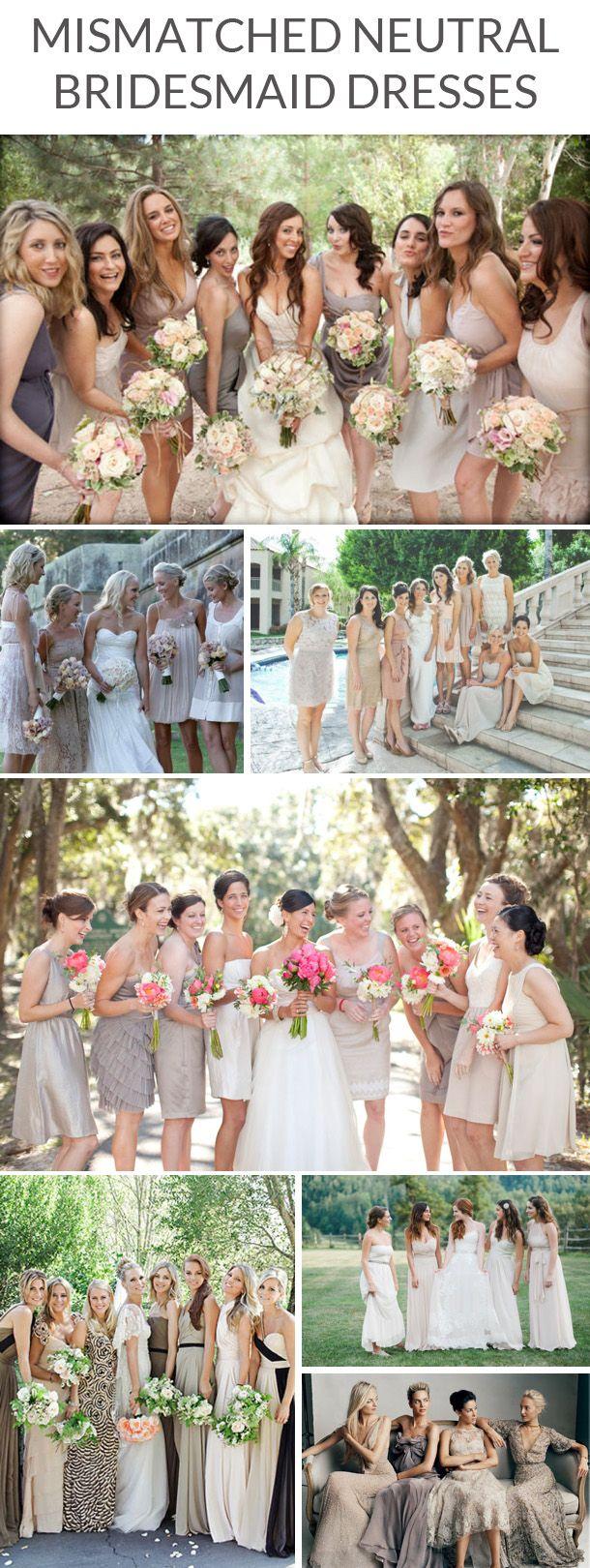 Mismatched neutral bridesmaid dresses | SouthBound Bride www.southboundbride.com/mismatched-neutral-bridesmaid-dresses Full image credits & links on blog post