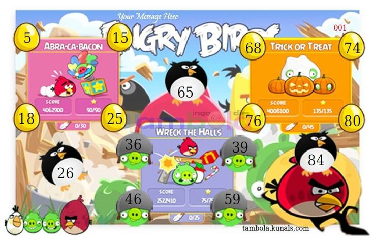 Angry Birds Anywhere  in 9x3 format :Templates Tickets