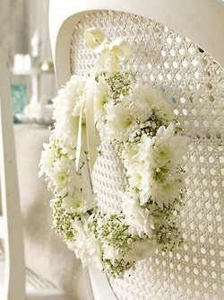 white on white: Canes Chairs, White Wedding, Bride Grooms, Chairs Decor, Wedding Chairs, Wedding Wreaths, Floral Wreaths, Flower Wreaths, White Wreath