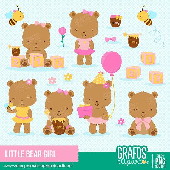 LITTLE BEAR GIRL - Digital Clipart Set, Bear Clipart, Baby Shower Clipart, Honey Clipart.