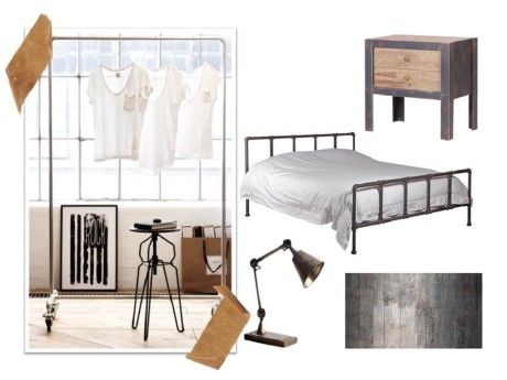 For A Raw And Cool Industrial Bedroom Try This Hospital Iron Bed, Industrial  Clothes Rail, 2 Drawer Bedside Cabinet, Table Lamp And Amazing Concrete ...