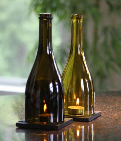Wine Gift - Wine Bottle Lanterns cast a subtle light into your home or illuminate your dining table as an elegant centerpiece.