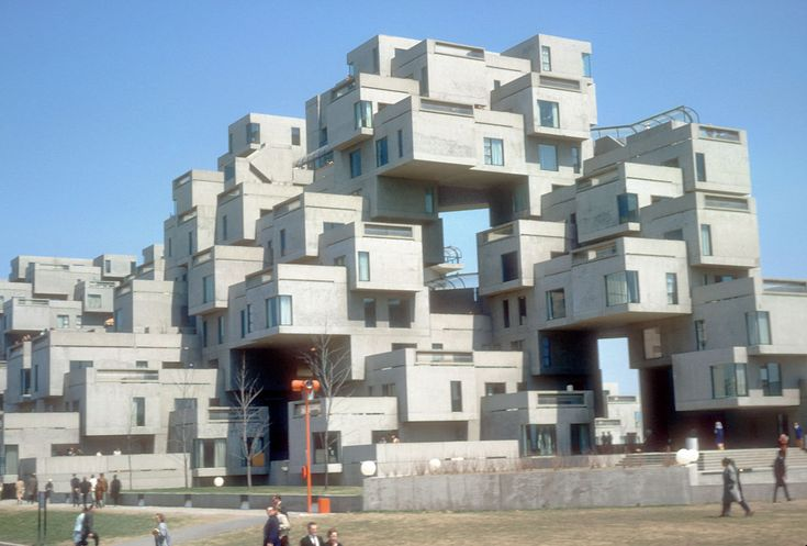 """Housing was one of the main themes of Expo 67. Habitat 67 then became a thematic pavilion visited by thousands of visitors who came from around the world. During the Fair, it was also the temporary residence of the many dignitaries coming to Montreal.    """"It was designed to integrate the variety and diversity of scattered private homes with the economics and density of a modern apartment building. Modular, interlocking concrete forms define the space. See source for more!"""