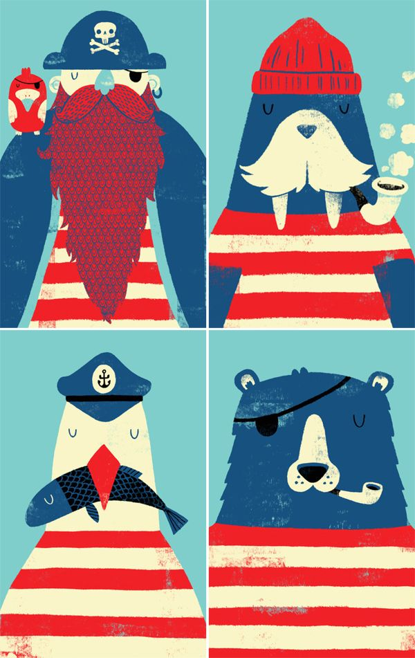 """Lost at Sea"" art print series by MonsterRiot available at Society6 - pirate and other sea-faring sailor animals: walrus, bear, sea gull"