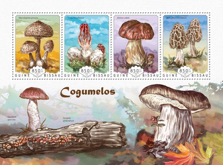 Post stamp Guinea-Bissau GB 14603 aMushrooms (Macrolepiota procera, {…}, Mitrophora semilibera)