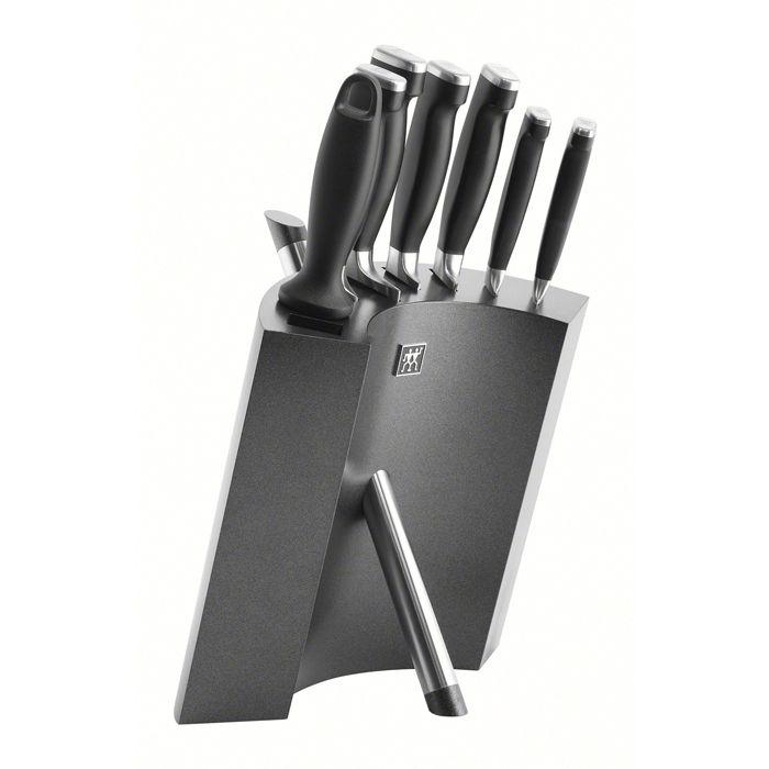 Набор ножей 7 пр, в подставке, Twin Four Star II Ножи: овощной, универсальный, для нарезки, поварской, филейный, хлебный, мусат, подставка (дерево).