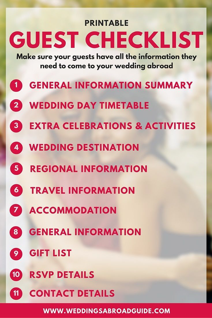 Destination Wedding Etiquette - Download Your Free Guest Information Checklist, Make Sure Your Guests Have All The Information They Need To Come To Your Wedding Abroad