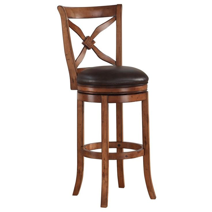 Lucca 360-degree Swivel Extra Tall Bar Stool by Greyson Living (Lucca Tall Bar Stool), Brown (Bonded Leather)