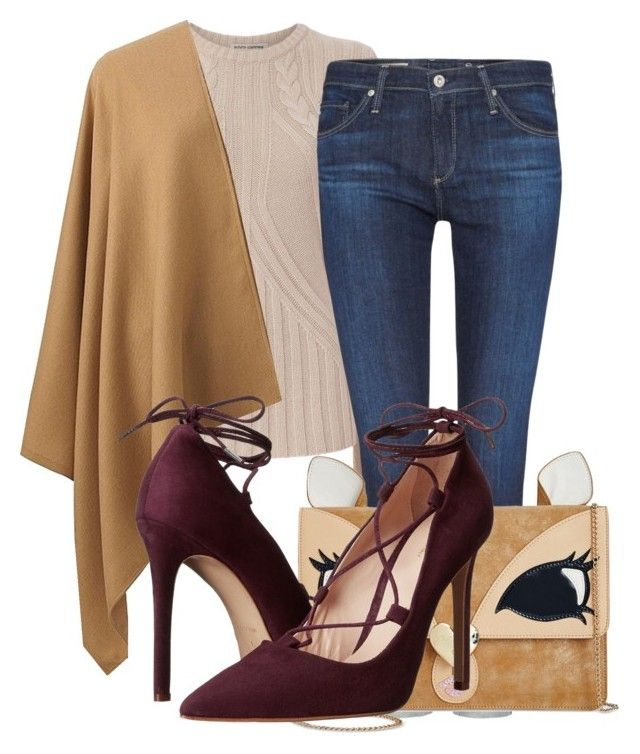 """Autumn Evening Date"" by aquabanana on Polyvore featuring Autumn Cashmere, AG Adriano Goldschmied, Betsey Johnson, Uniqlo and Massimo Matteo"