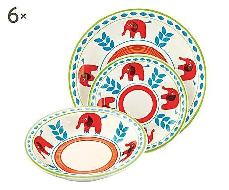 Servizio di piatti in gres arca di noe elefante - 18 pezzi