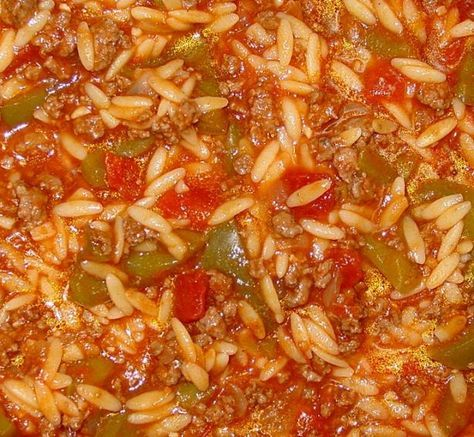 Stuffed Pepper Stoup - Rachael Ray ;  making this for dinner tonight - a favorite of me and my husband (however, I do stray from the recipe a LITTLE and add one more can of diced tomatoes).  Yummy with homemade dinner rolls!!