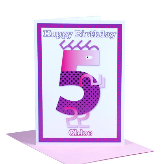 Unique 5th Happy Birthday card for girls personalised name by stuartconcepts on Etsy www.etsy.com/au/shop/stuartconcepts