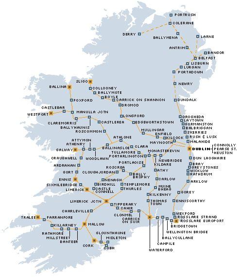 Train routes through Ireland