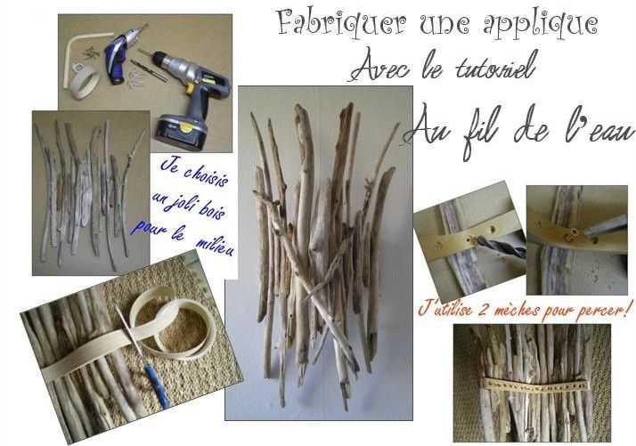 fabriquer une applique murale en bois flott my next big project pinterest appliques. Black Bedroom Furniture Sets. Home Design Ideas