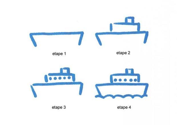 Apprendre à dessiner Un paquebot - Dessins simples