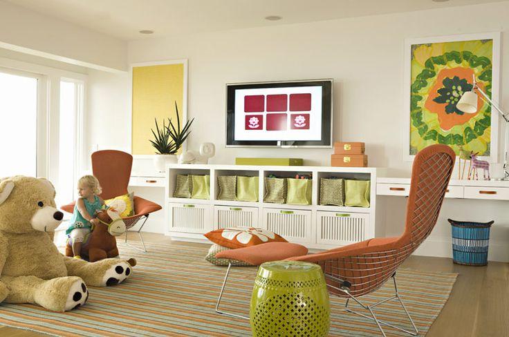 Nice PlayroomPlayrooms Ideas, Playrooms Storage, Kids Playrooms, Kids Spaces, Kids Room, Plays Spaces, Colors Schemes, Plays Room, Bright Colors