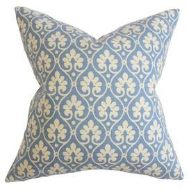 "Made in the USA, this feather-down pillow is wrapped in cotton and defined by an elegantly scrolling lattice motif.   Product: PillowConstruction Material: Cotton cover and 95/5 down fillColor: Sky blueFeatures:  Insert includedHidden zipper closureMade in Boston Dimensions: 18"" x 18""Cleaning and Care: Spot clean"