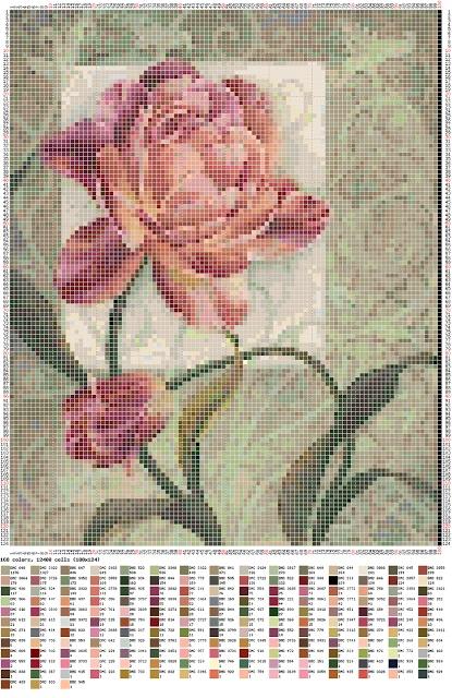 #cross stitch rose pic #afs Enlace a programa para crear esquemas para bordado.  Subimos nuestra imagen y ¡voila !