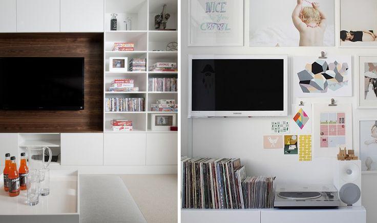 Ana Viana e Bárbara Ávila, do Buji, dão dicas de como decorar de forma prática a parede da sala que fica atrás da TV.