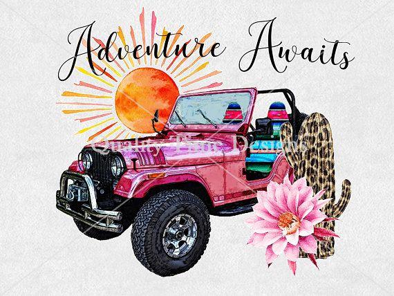 Transfer Design Download Adventure Awaits Jeep Serape Cactus