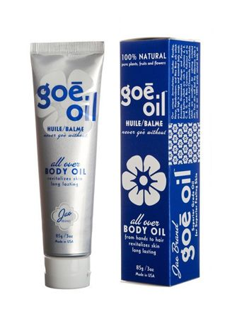 Goe Oil, $44) a semi-solid combination of 28 different oils and butters derived from plants, fruits, and flowers. This fast-absorbing, all-natural balm earned itself a permanent spot in our routines upon first use. It's great on sensitive, freshly shaven legs, rough patches, and split ends, and can even be used as a makeup remover.