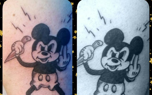 😠FTW!!!😎 By Nilla Piercing  #tattoos #tatuaggio #topolino #mickeymouse #funstuff #blackandgray #oldschool #fuckyou #tatuaggiroma #bodymod #cartoon