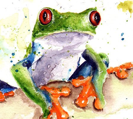 Life is just better with animals around! Light up your home and spirit with this fine art print of my watercolor tree frog painting. This little amphibian is known as the red-eyed tree frog, found in central America. His blue and green body, red eyes, and bright orange hands and feet make him one of the more colorful frogs. I hope you enjoy him as much as I do!  ________________________________________________________  SIZE: choose the size that best fits your budget SIGNED by the artist…