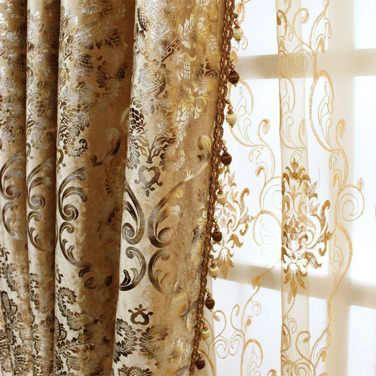 Спальня Европейской Шторы для Гостиной Окна Shading Bronzing Ткань Обеденный Ключ 2 Люкс Стиль Байки купить на AliExpress