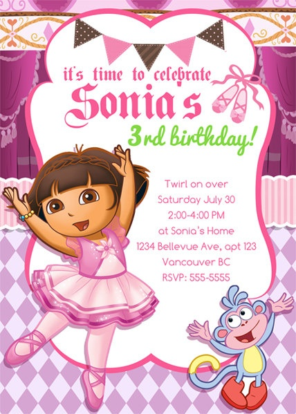 22 best Serenitys 4th Birthday Party images – Printable Dora Birthday Invitations