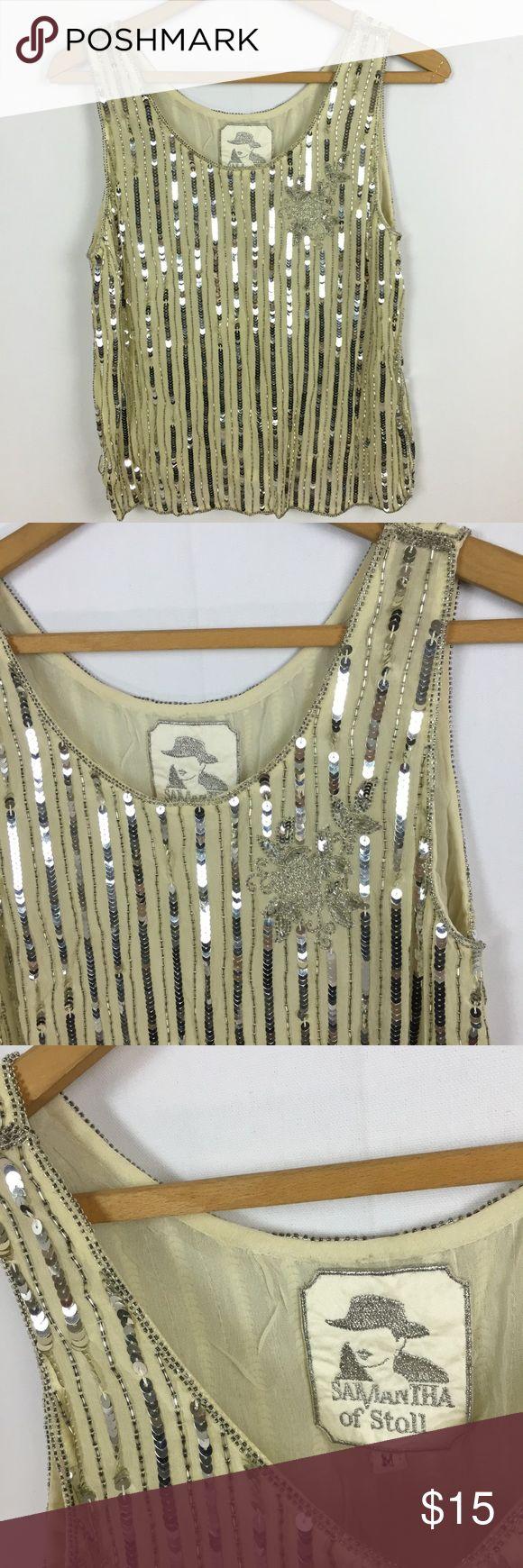 Vintage silk silver sequin tank top Samantha Stoll silk w/ silver sequins. Size medium. Tops Blouses