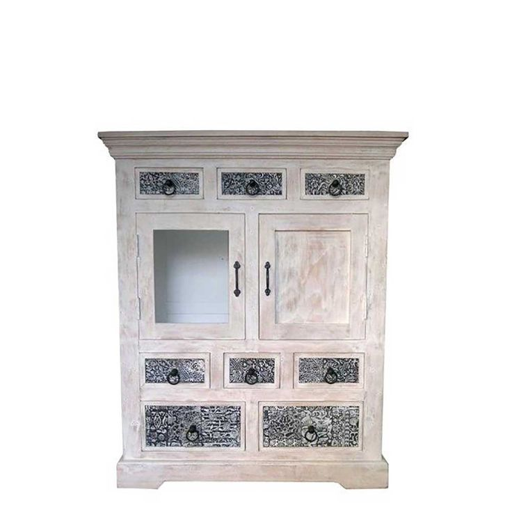 Shabby Chic Highboard In Weiss Grau Holz Massiv Highboardwohnzimmerschrank Kommodeflurkommode
