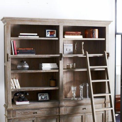 Oak bookcase - Brook solid oak bookcases 200x230 - Tikamoon