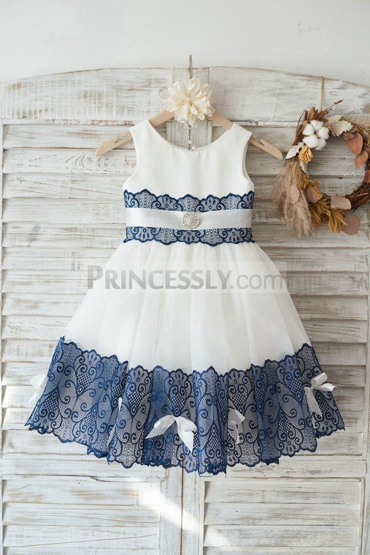 01462cb0e59 Ivory Satin Tulle Wedding Flower Girl Dress with Navy Blue Lace Bow Belt  Baby Girl Dresses